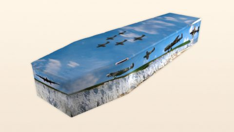 Coffin with airplanes - Chelsea Funeral Directors