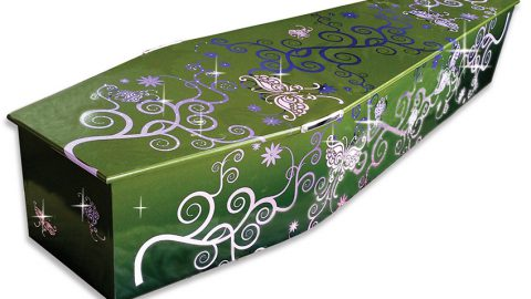 Coffin with butterfly ribbons and sparkle - Chelsea Funeral Directors